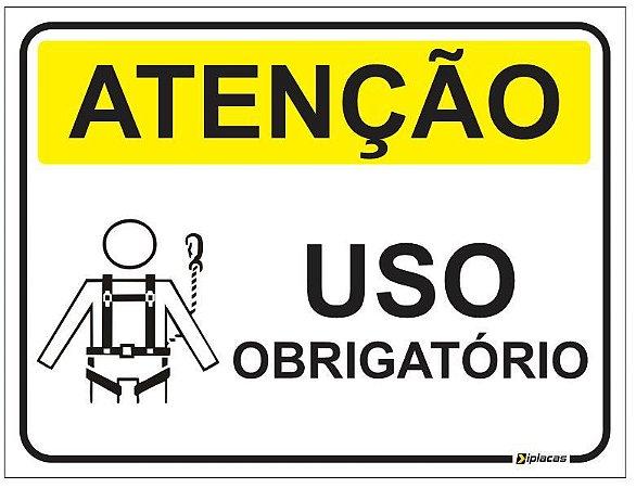Placa Atenção - Uso Obrigatório Cinta de Segurança