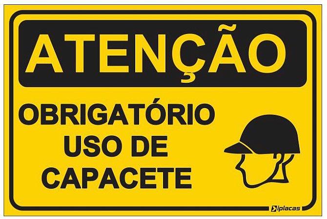 Placa Atenção - Uso obrigatório - Obrigatorio Uso de Capacete