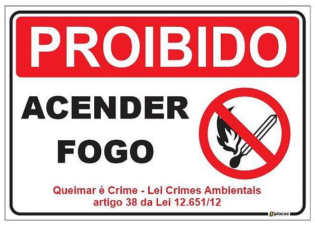 Placa Proibido Acender Fogo