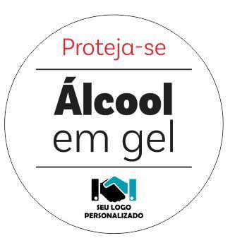 Etiqueta - Proteja-se Álcool em gel 10x10cm branca
