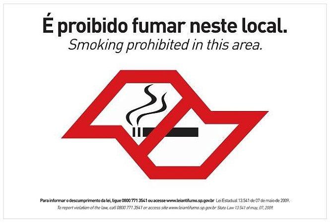 Placa Proibido Fumar - Lei Estadual SP - 30x20cm