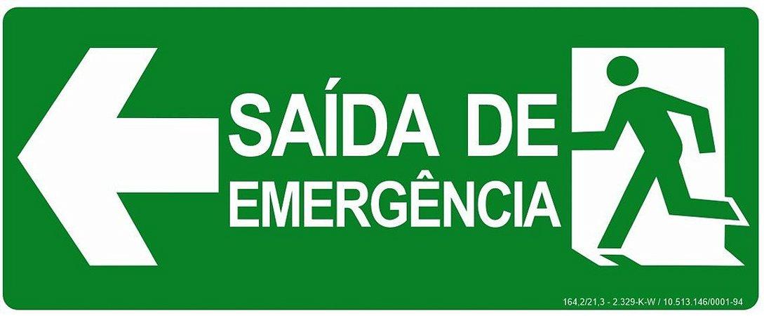 Placa - Rota de Fuga Saída de Emergência à Esquerda