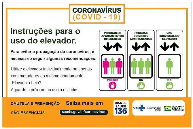Placa instruções para uso de elevador - COVID-19
