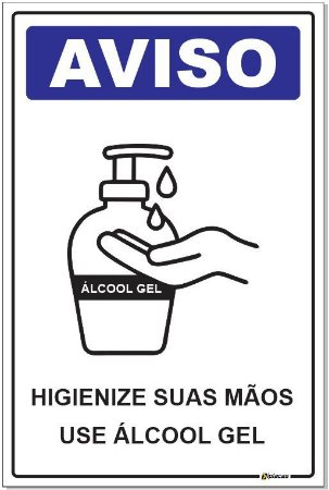 Placa - Aviso - Use Álcool Gel