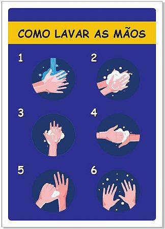 Placa - Como lavar as mãos Kids