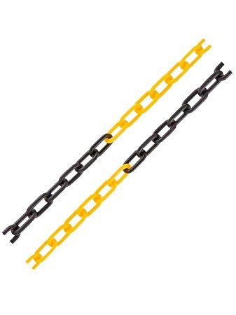 Corrente Plástica Zebrada Amarela e Preta Elo Pequeno