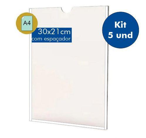 Kit DIsplay Porta Folha A4 em acrílico - Com Filete Espaçador