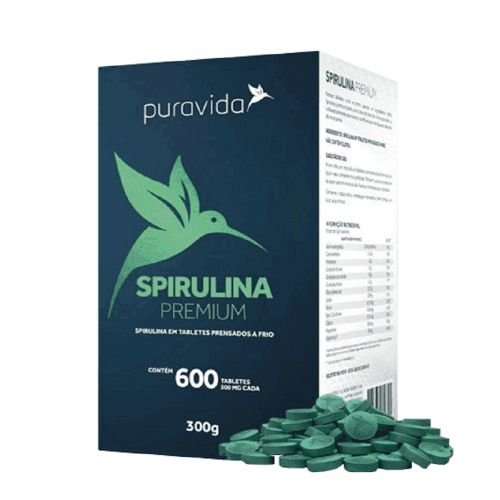 SPIRULINA PREMIUM 100G PURA VIDA 200 TABLETES 500G