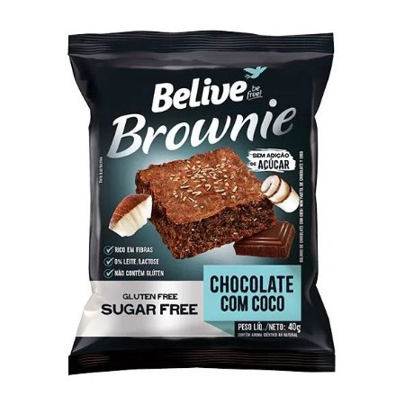 BROWNIE CHOCO C COCO ZERO ACUCAR BELIVE 40G