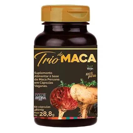 Trio de maca (maca peruana amarela, vermelha, preta) 60 cápsulas - Color Andina