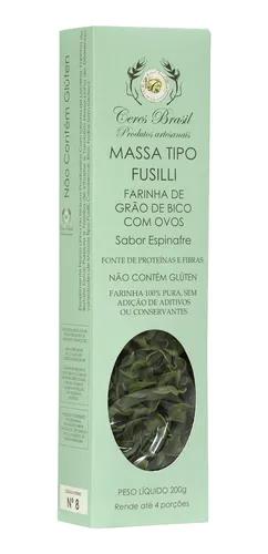 Fusilli Farinha Grão de Bico sabor espinafre low carb sem gluten Ceres Brasil 200g