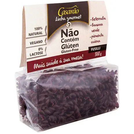 Massa Gourmet Fuzilli com Beterraba, Banana Verde e Pimenta Caiena 300g - Casarão