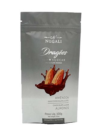 Dragees Zero Açúcar Amêndoa com chocolate ao leite Nugali 100g