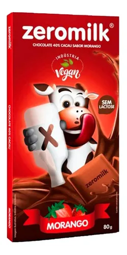 Chocolate 40% cacau sabor morango ZERO MILK 80g