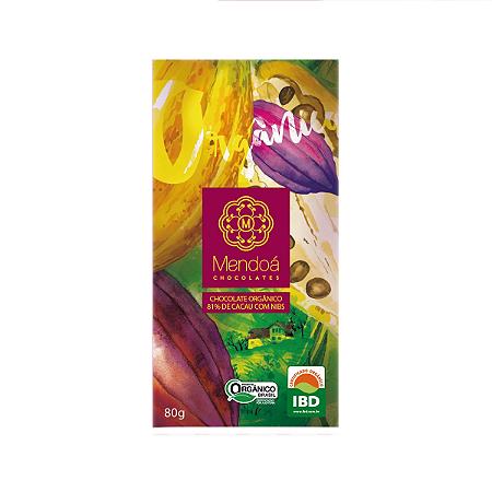 Chocolate organico 81% de cacau com nibs Mendoá  80g