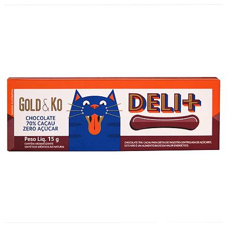 Chocolate 70% cacau zero açúcar Deli +  Gold&Ko 15g