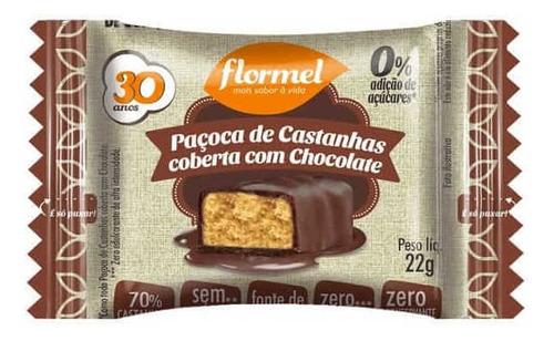 Paçoca de castanha coberta com chocolate FLORMEL 20g