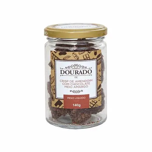 Crisp de Amendoim com chocolate meio amargo Dourado 140g