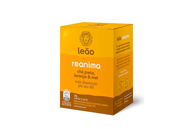 Chá Reanima preto + laranja e mel Chá Leão 20g