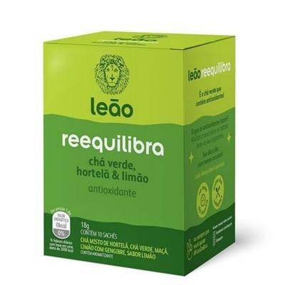 Chá Reequilibra chá verde com hortelã + limão Chá Leão 18g