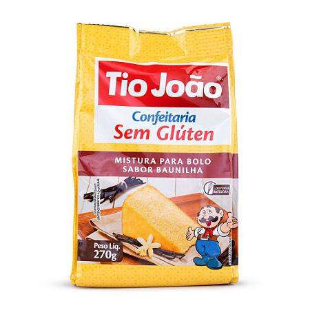 Mistura para bolo sabor baunilha sem gluten Tio João 270g