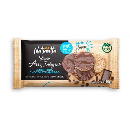 Biscoito de arroz integral chocolate meio amargo Naturatta 16g