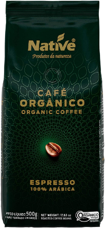 Cafe organico 100% arabica grãos Native 500g