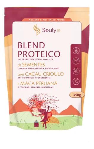 Blend proteico cacau criolo e maca peruana Souly 340g