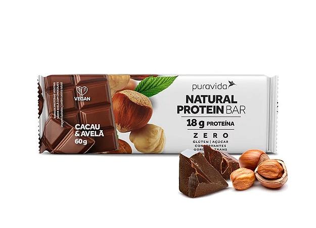 Barra natural protein cacau e avelã Pura Vida 60g
