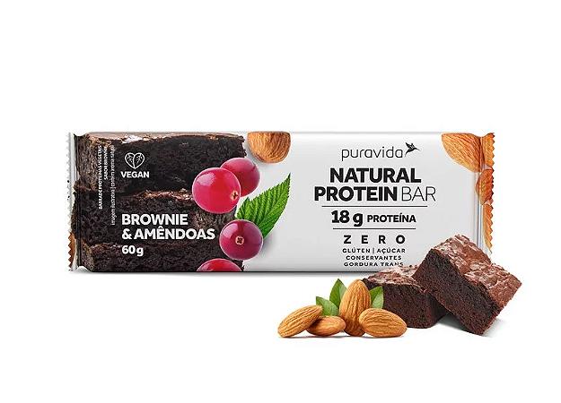 Barra natural protein brownie e amendoas Pura Vida 60g
