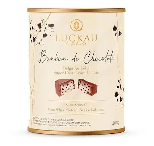 Bombom de chocolate belga ao leite recheio cookies cream Luckau 200g