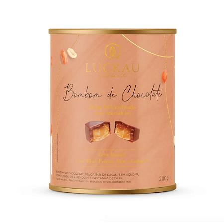 Bombom de chocolate belga recheio amendoim Luckau 200g