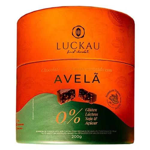 Bombom de chocolate vegano com recheio avelã Luckau 200g