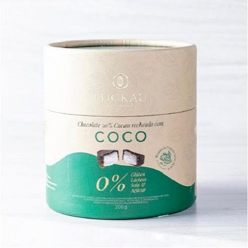 Bombom chocolate vegano recheado com coco Luckau 200g