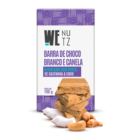 Barra de chocolate branco com pasta de castanha e coco Wenutz 100g