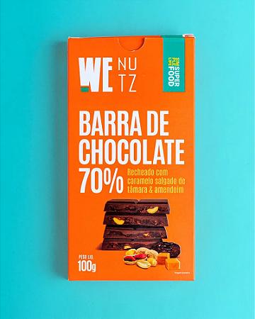 Barra de chocolate 70% caramelo salgado de tamara e amendoimWenutz 100g