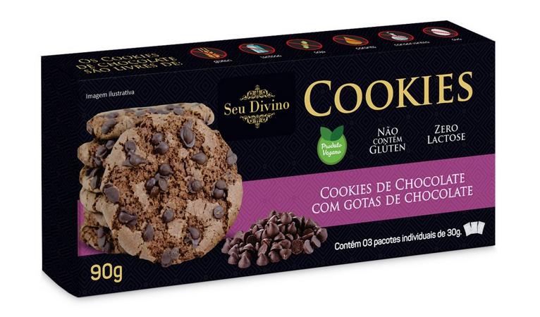 COOKIES DE CHOCOLATE COM GOTAS DE CHOCOLATE SEU DIVINO 90G