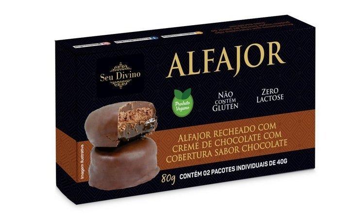 ALFAJOR DE CHOCOLATE RECHEADO COM CREME DE CHOCOLATE SEU DIVINO 40G