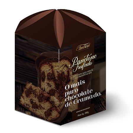 Panetone trufado com creme suiço coberto com chocolate ao leite 390g