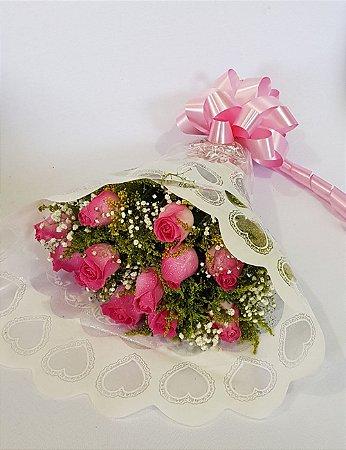 Buquê 12 Rosas Rosa (Consultar Disponisponibilidade)