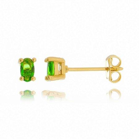 Brinco Pequeno com Esmeralda Cravada Banhado a Ouro