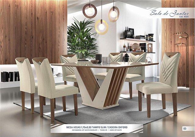 Conjunto Mesa de Jantar Vegas 1,70m com 06 Cadeiras Oxford Cel Móveis Off-White/Chocolate