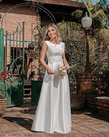 Vestido de Noiva Zibeline e Flores 3D