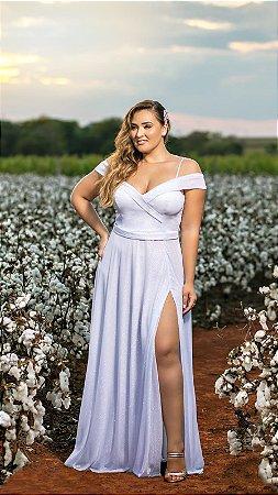 Vestido de Noiva Plus Size Ombro a Ombro com Fenda