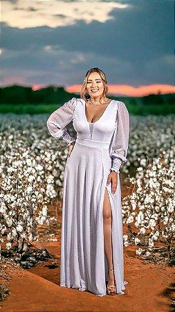 Vestido de Noiva Plus Size Manga Longa Lurex