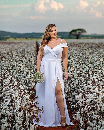 Vestido de Noiva Plus Size Civil Zibeline Ombro a Ombro