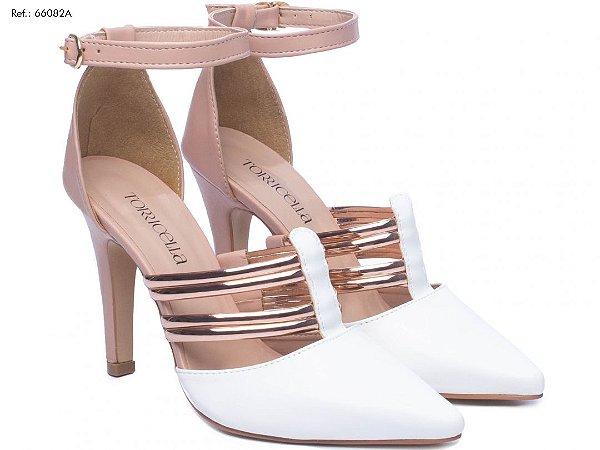 Scarpin Noiva Branco Dourado e Rosê