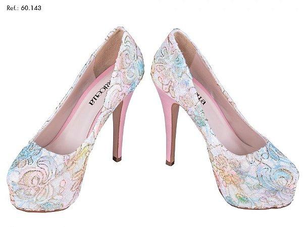 Sapato de Noiva Rendado Colorido