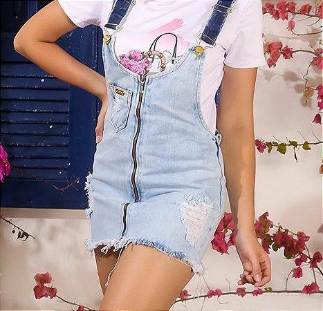 Salopete Clara com Zìper Jeans