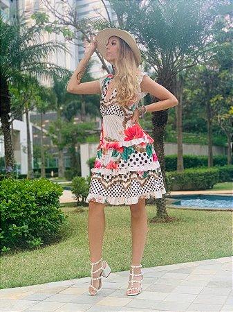 Vestido Curto Maxi Flor Fenda nas Costas